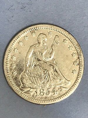 1854 - P With Arrows Silver Seated Liberty Quarter