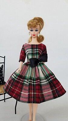 Handmade Vintage Barbie Doll Clothes by Brenda - Tartan Plaid Dress