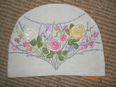 Vintage Embroidered Tea Cosy, Roses & Sweet Peas
