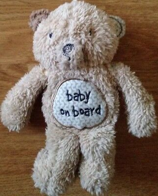 MOTHERCARE Car Sign Baby On Board Vehicle Soft Cuddly Bear Road Safety Alert Toy
