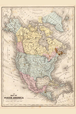 North America 1867 Vintage Antique Style Map Poster 12x18 inch