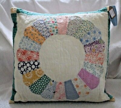 Large Throw Pillow Made With Vintage Dresden Plate Quilt and Vintage Tablecloth