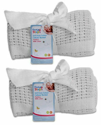 Cellular Blanket Soft Pure 100% Cotton Baby Comfort Newborn White Pack Of 2