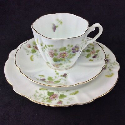 Antique Victorian China Tea Cup Saucer Plate Trio Fluted Handpainted Unmarked