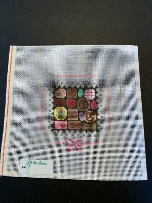 Handpainted Needlepoint Canvas - 3 dimensional Box of Chocolates by The Studio