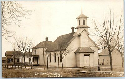 """Griswold, Iowa RPPC Real Photo Postcard """"Christian Church"""" Building View c1910s"""
