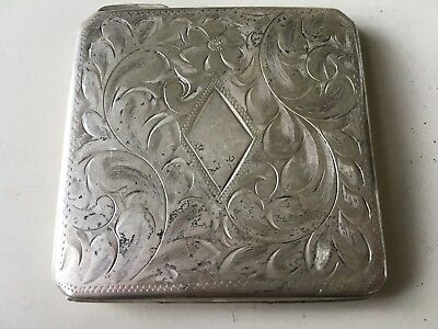 Antique Sterling Silver Mirrored Powder Square Compact