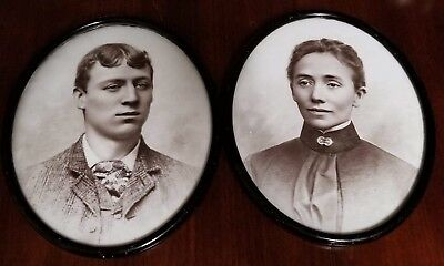Pair of 2 Antique Portraits - Oval Milk Glass Old Rare Unknown Opalotype Photo