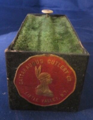 Rare Vintage Cattaraugus Cutlery Co Pocket Knife Display Box Case Indian Chief