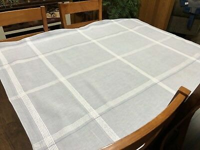 "Vintage Serene Blue-Gray White Plaid Woven 49 x 60"" Square Tablecloth (RF822)"