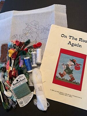 Needlepoint Kit by Libby Sturdy with threads - On The Road Again