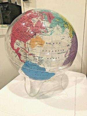 * UNIQUE * Vintage 80s / 90s clear acrylic WORLD GLOBE by SPHERICAL CONCEPTS