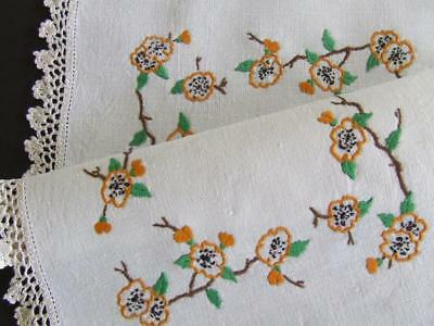Tiny Orange Wax Flowers - Vintage Hand Embroidered Centre - Crocheted Edging