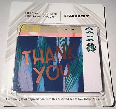 #6161 NEW 2018 STARBUCKS Multi Color 5 Pack Thank You CARDS Scan Code, not Bar