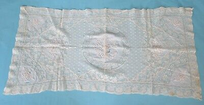 Rectangle Vintage Older French Lace Doily Net Repair Study