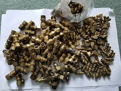 Lot Of Brass Tube Fittings- Male, Fm. Connectors Many Sizes New Old Stock 19 Lb