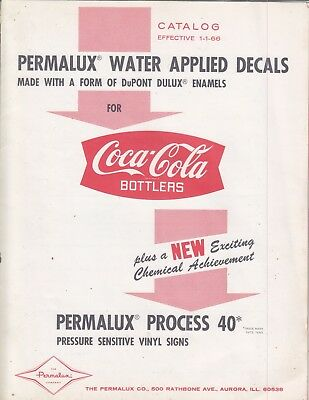 Permalux Watter Applied Decals Catalog 1 - 1 - 66  81/2 X 11 4 Beautiful Pages