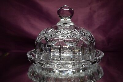 Gorham Crystal Round Covered Butter Dish Bamberg
