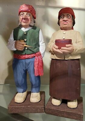 """1960"""" Swedish C. O. Trygg signed wood carved figurines French Canadian Couple"""