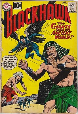 "BLACKHAWK - ""GIANTS from the Ancient  World"" DC #163 Aug 1961 - FAIR condition"