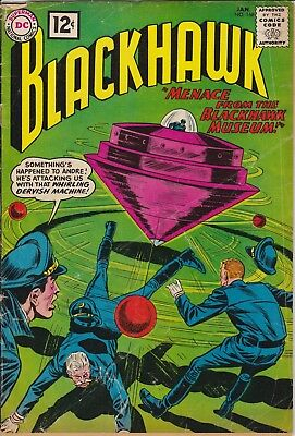"BLACKHAWK - ""Menace from the Blackhawk Museum"" DC #168 Jan 1962 - GOOD condition"