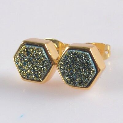 9mm Hexagon Natural Agate Titanium Druzy Stud Earrings Gold Plated T073279