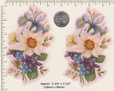 """2 x Ceramic decals Spring Flowers Floral Daffodils  Approx. 5 1/4"""" x 3 1/2"""" PD58"""