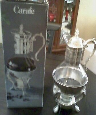 Vintage Glass Coffee Carafe Silver Plated Candle Warmer Stand