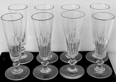 8 Antique 19th Century Mold Blown Panel Cut Champagne Flutes w Knopped Stems #1