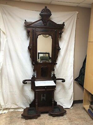 Antique East Lake Walnut Hall Tree 19th Century