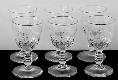 Set 6 Antique 19th Century Panel Cut Cordial Wine Glass Double Knopped Stems