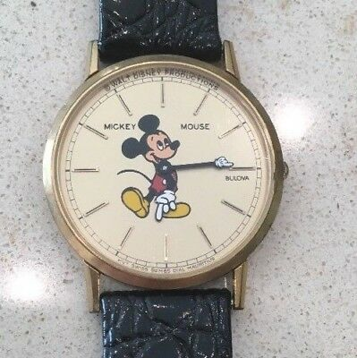 Vintage Mickey Mouse Watch Bulova thin profile leather band