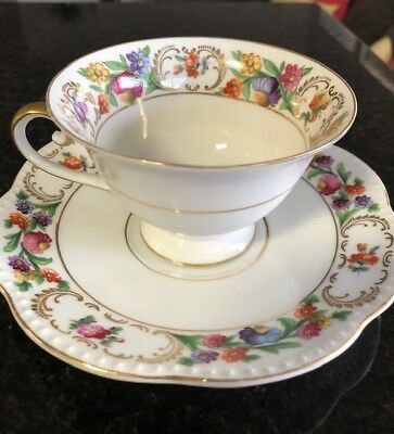 Vintage Bavaria V Empress Tea Cup and Saucer Dresden Flowers Garland
