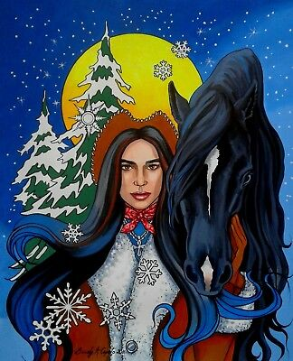 country winter snow horse landscape rustic moon painting western fantasy cowgirl