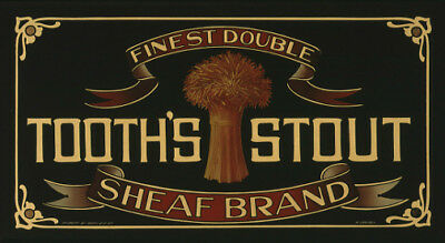 Tooth's Stout Sheaf Brand mirror photoposter 325x570mm beer bar $20 + postage