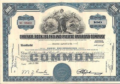 Stock certificate Chicago, Rock Island & Pacific Railroad Company 100 shares