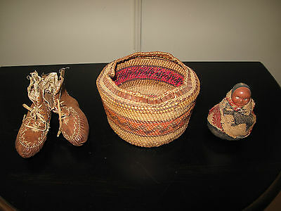 ANTIQUE MAKAH TRIBE BASKET Native American + Baby Moccasin/Booties + Pin Cushion