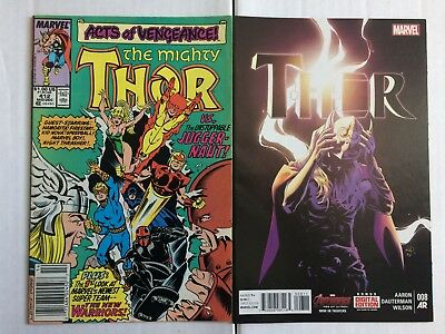 Lot of 2 THOR 412 F - First Appearance NEW WARRIORS THOR 8 NM - Jane Foster