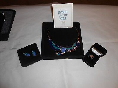 FRANKLIN MINT JEWEL OF THE NILE NECKLACE, EARRINGs AND RING