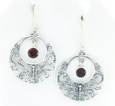 Sterling Silver Filigree Earrings Red Garnet Gemstone