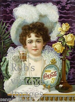 Early Coca Cola Poster 5 Cents Coke  Lady Flowers Bonnet 1900 Vintage 8x11
