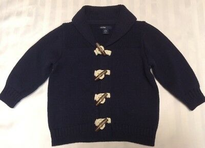 BABY GAP Navy Blue Toggle Sweater Coat Size 12-18 Months Cardigan