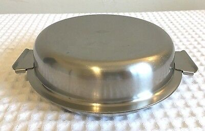 Vintage Skara Stal Swedish 18/8 Stainless Steel Round Dish w-Fitted Lid - Nice!