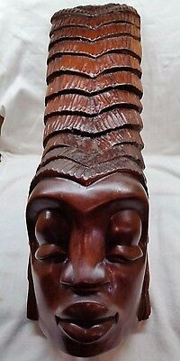 Hand Carved Wood African Woman's Face / Wall Hanging Tribal Gabon Ancestral Punu