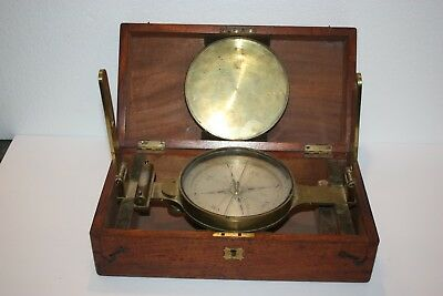 Late 19th Century Brass Surveyor's  Compass ~C. Baker,  London w/ Walnut Box
