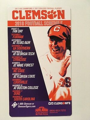 """Clemson Tigers 2018 Football Magnetic Schedule 4"""" X 7"""" 2019 National Champions"""