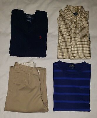 Boys POLO Ralph Lauren Long Sleeve Shirt Sweater Vest Pants Lot Size S M 7 8