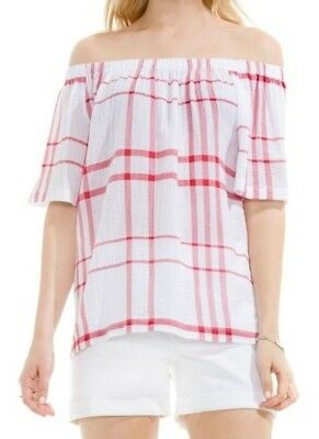 8a1fac50bfc18 Two by Vince Camuto Off the Shoulder Top Large Red White Plaid Stretch L  New NWT