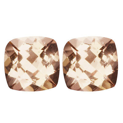 1.88Ct (2Pcs) PairTopnotch Cushion Cut 6 x 6 mm 100% Natural Pink Morganite