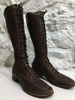 Women's Antique Vintage 1920's 1930's Tall Leather Boots Military Army